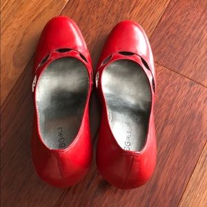 BCBGirls- Red leather pumps. Size 7.